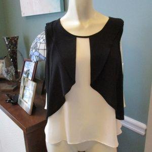 Zara Basic Black Cream Flirty sleeveless Top XS